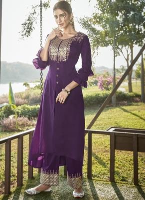 purple embroidered stitched salwar