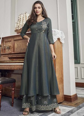 grey embroidered stitched salwar