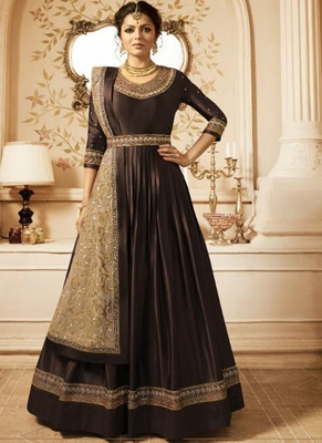 brown embroidered semi stitched salwar with dupatta