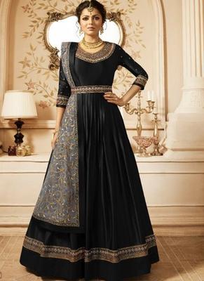 black embroidered semi stitched salwar with dupatta