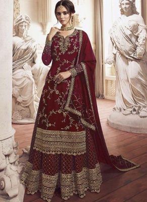 Red Embroidered Semi Stitched Salwar With Dupatta