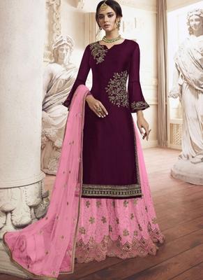 Purple Embroidered Semi Stitched Salwar With Dupatta