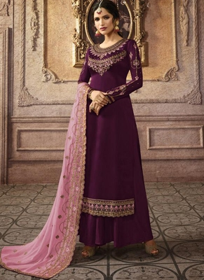 wine embroidered semi stitched salwar with dupatta