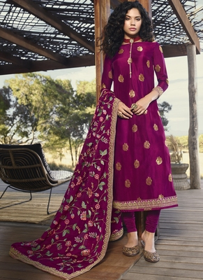 magenta embroidered semi stitched salwar with dupatta