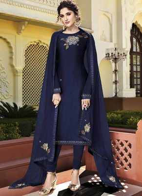 blue embroidered semi stitched salwar with dupatta