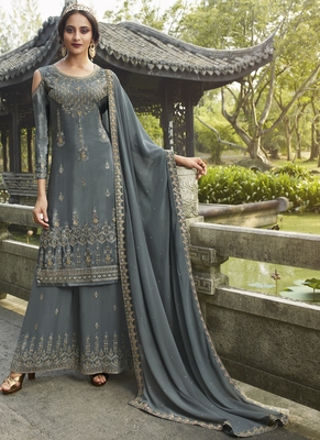 grey embroidered semi stitched salwar with dupatta