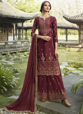 maroon embroidered semi stitched salwar with dupatta