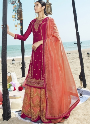 Magenta Embroidered Semi Stitched Salwar With Dupatta