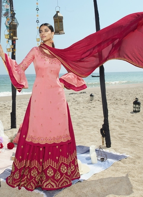 pink embroidered semi stitched salwar with dupatta