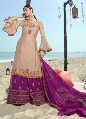 beige embroidered semi stitched salwar with dupatta