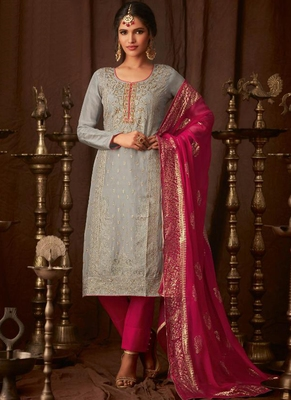 grey embroidered semi stitched salwar with dupatta