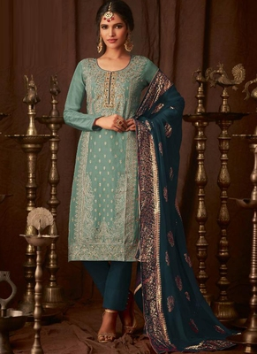turquoise embroidered semi stitched salwar with dupatta