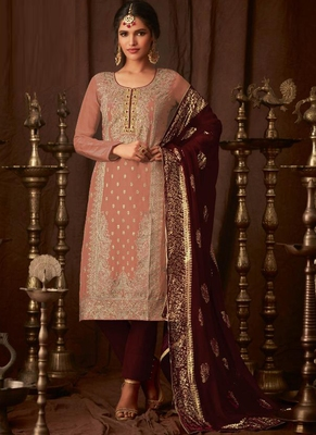 peach embroidered semi stitched salwar with dupatta