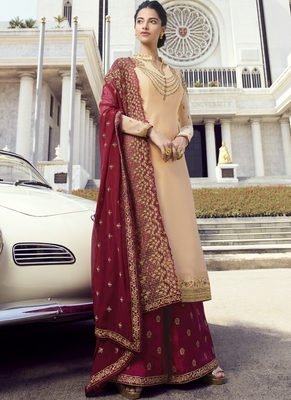 Cream Embroidered Semi Stitched Salwar With Dupatta