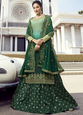 green embroidered semi stitched salwar with dupatta