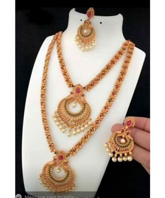 Traditional South Indian Gold Plated Jewellery Combo Set for Women
