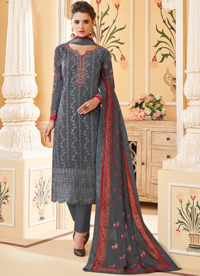 grey embroidered stitched salwar with dupatta