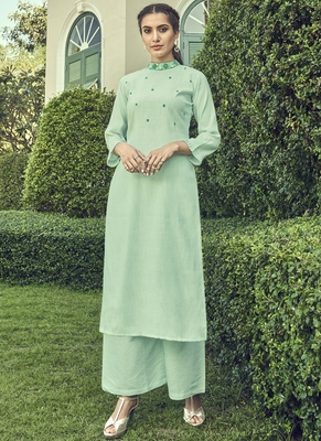 turquoise embroidered stitched salwar