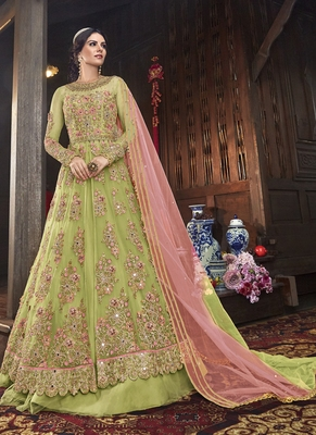 Yellow Embroidered Semi Stitched Salwar With Dupatta