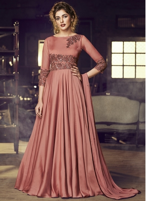 peach embroidered stitched salwar with dupatta