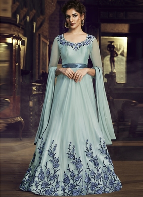 turquoise embroidered stitched salwar with dupatta