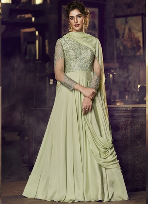 green embroidered stitched salwar with dupatta