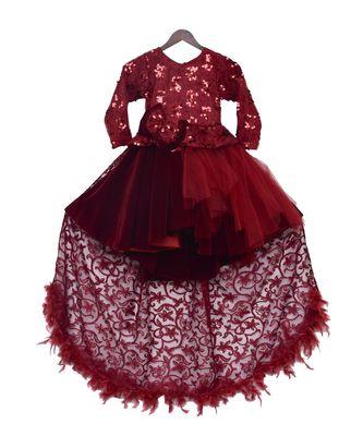 Maroon Velvet High Low Gown