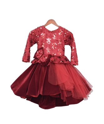 Maroon Sequence High Low Frock
