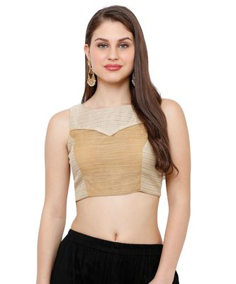 Women's Beige Boat Neck Readymade Saree Blouse