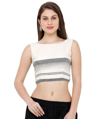 Women's Off White & Black Casual Readymade Saree Blouse