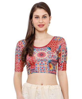 Women's Red Multi Stretchable Kalmkari Casual Readymade Saree Blouse