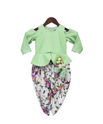 Green Mirror work Peplum with Printed Dhoti