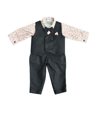 Black Waist Coat with Peach Printed Shirt and Black Pant