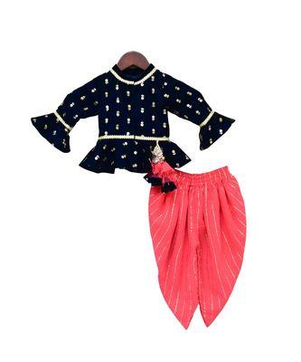 Dark Blue Velvet Peplum Top with Coral Dhoti