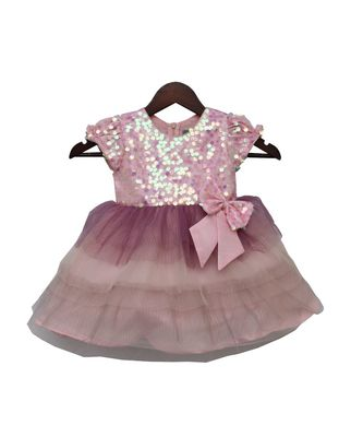 Baby Pink Sequence Yoke with Pleating Net Frilli Frock