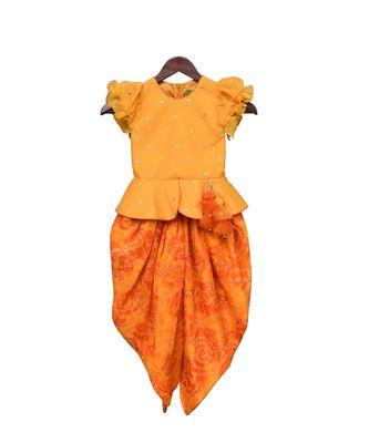 Yellow Chanderi Boti Peplum Top with Dhoti
