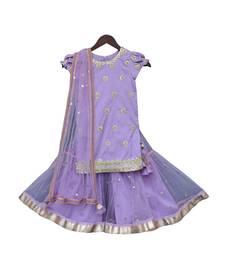 Purple Embroidery Kurti with Purple Sharara