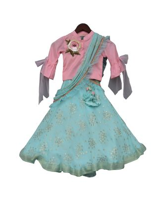 Pink Top with Blue Printed Lehenga Saree