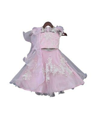 Pastel Pink Embroidery Choli with Lehenga