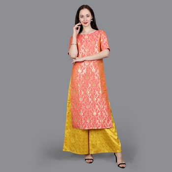 Pink Brocade High Slit Kurta