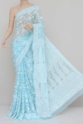 Blue, Allover Heavy Palla Hand Embroidered Lucknowi Chikankari Saree