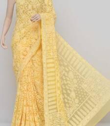 Yellow Allover Jaal Heavy Palla Hand Embroidered Lucknowi Chikankari Saree