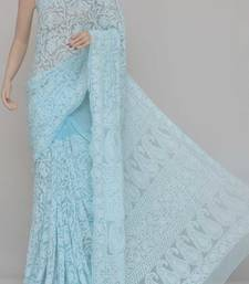 Sky-Blue Allover Jaal Heavy Palla Hand Embroidered Lucknowi Chikankari Saree