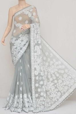 Grey Color Hand Embroidered Lucknowi Designer Chikankari Saree