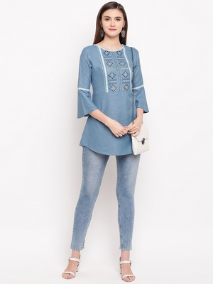 Blue Embroidery With Print  A-line Short kurti