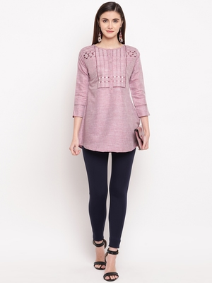 Magenta Embroidery With Print  A-line Short kurti