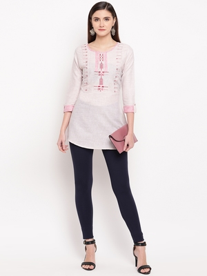 Off White Embroidery With Print  A-line Short kurti