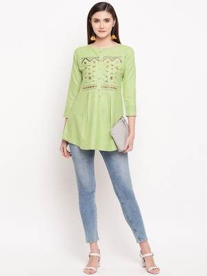Green Embroidery With Print  A-line Short kurti