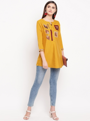 Mustard Embroidery With Print  A-line Short kurti