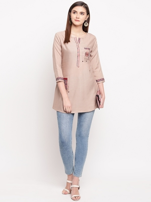 Beige Embroidery With Print  A-line Short kurti